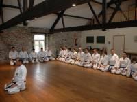 cours d'art martial dans la ferme chateau de Dourbes  plancher en bois